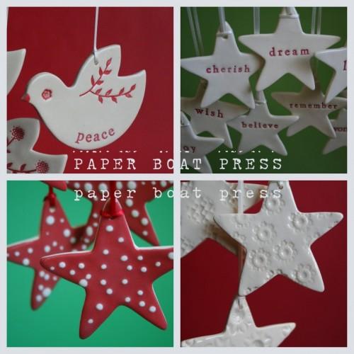 Ceramic ornaments from Paper Boat Press