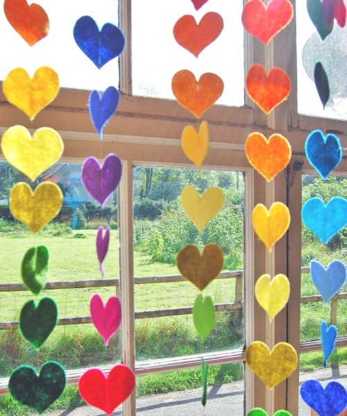 Hanging Rainbow Hearts