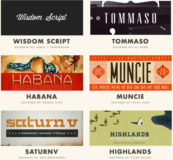 Selection of LostType fonts