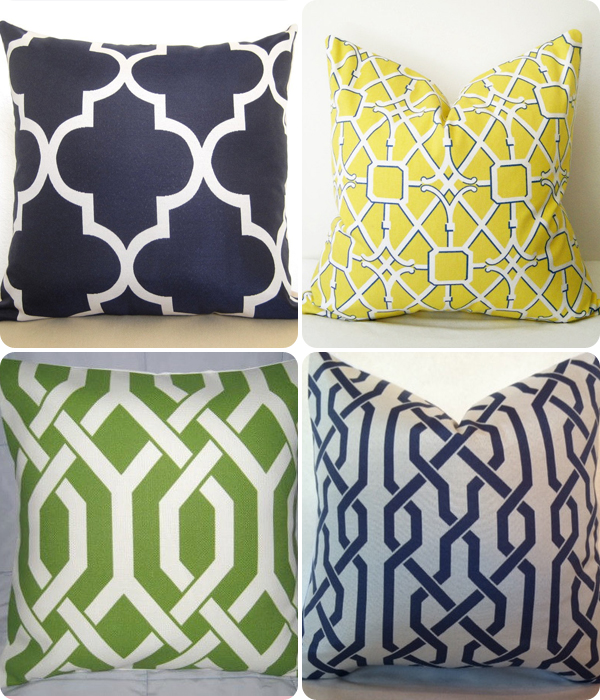 Collection of cushions with lattice patterns