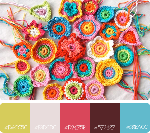 Colour palette and crochet flowers by Carina Envoldsen-Harris