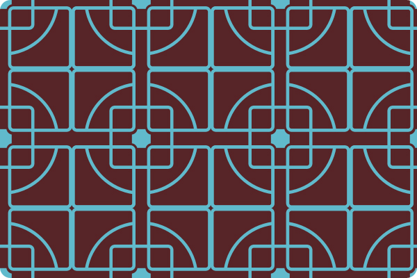 Trellis pattern in blue and brown