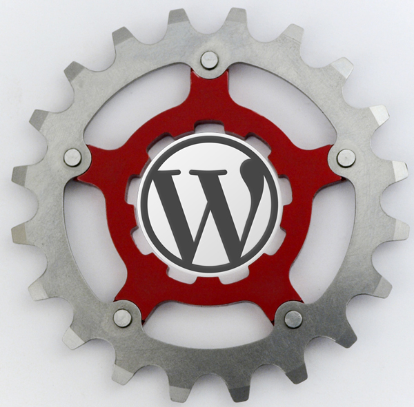 Cog with WordPress logo on it