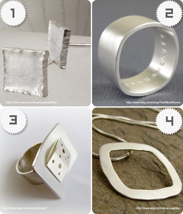 4 jewellery pieces with a square shape