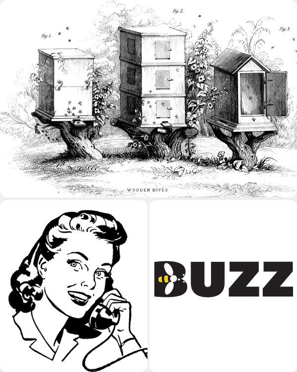 Bee hives, 1950s image of a women on the phone and buzz logo