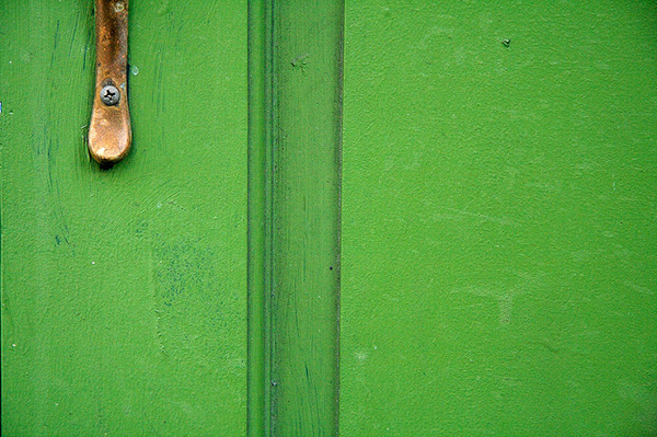 Green door with old latch