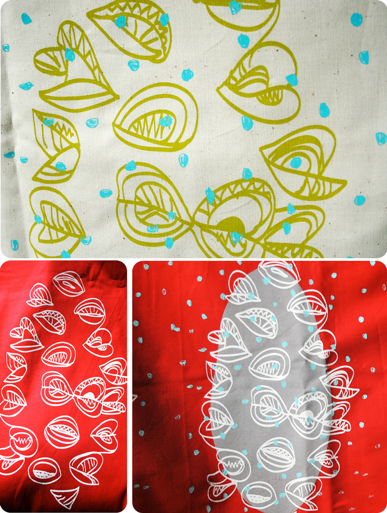 3 pictures of screen printed fabric