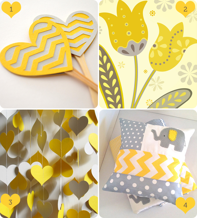 Products from etsy in yellow and grey