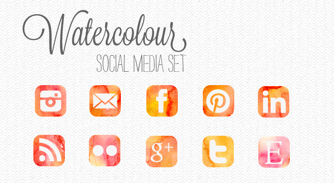 watercolour social media icon set