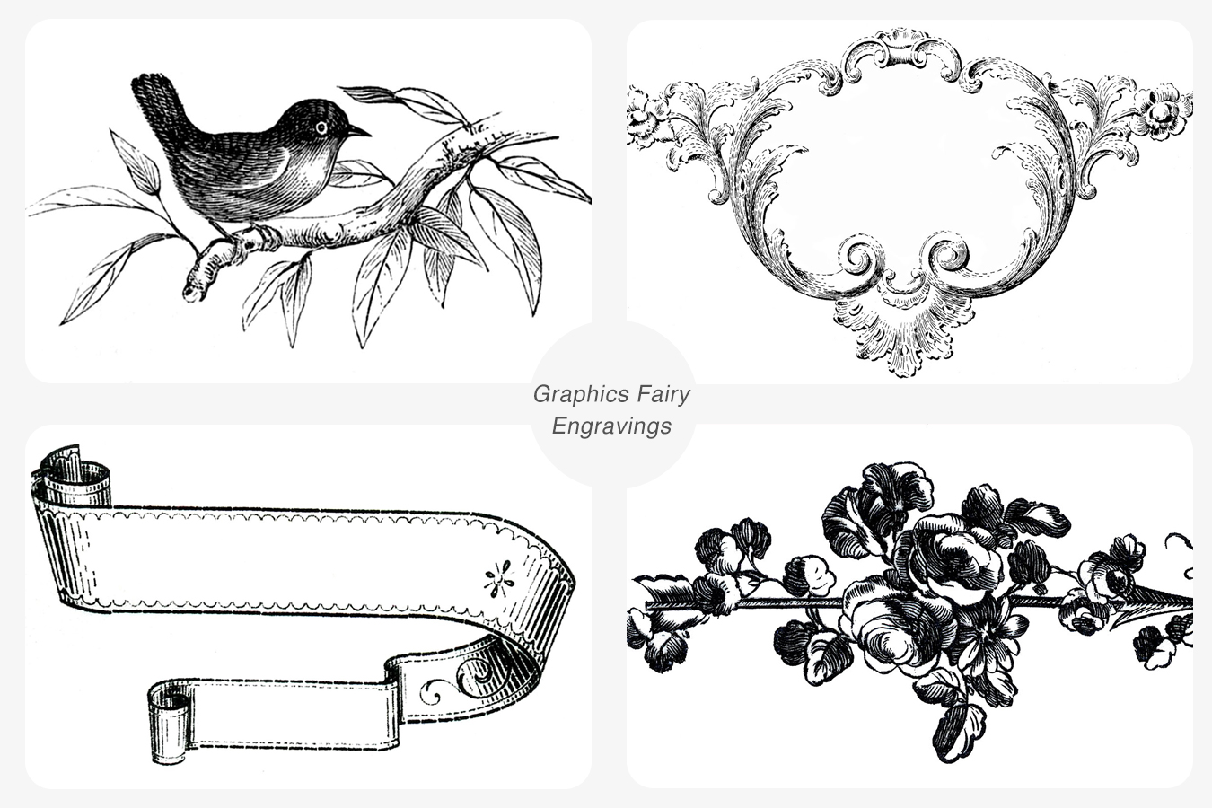 A selection of vintage engraving images