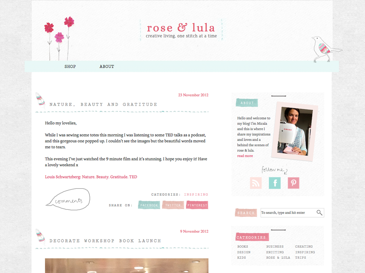 Rose and Lula blog screenshot