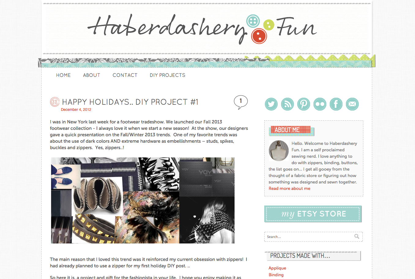 Screen shot of Haberdashery Fun blog home page