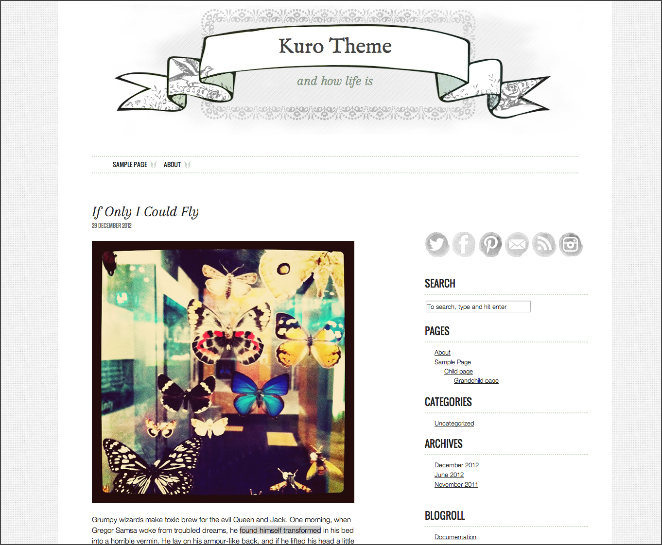Screen shot of my latest WordPress theme