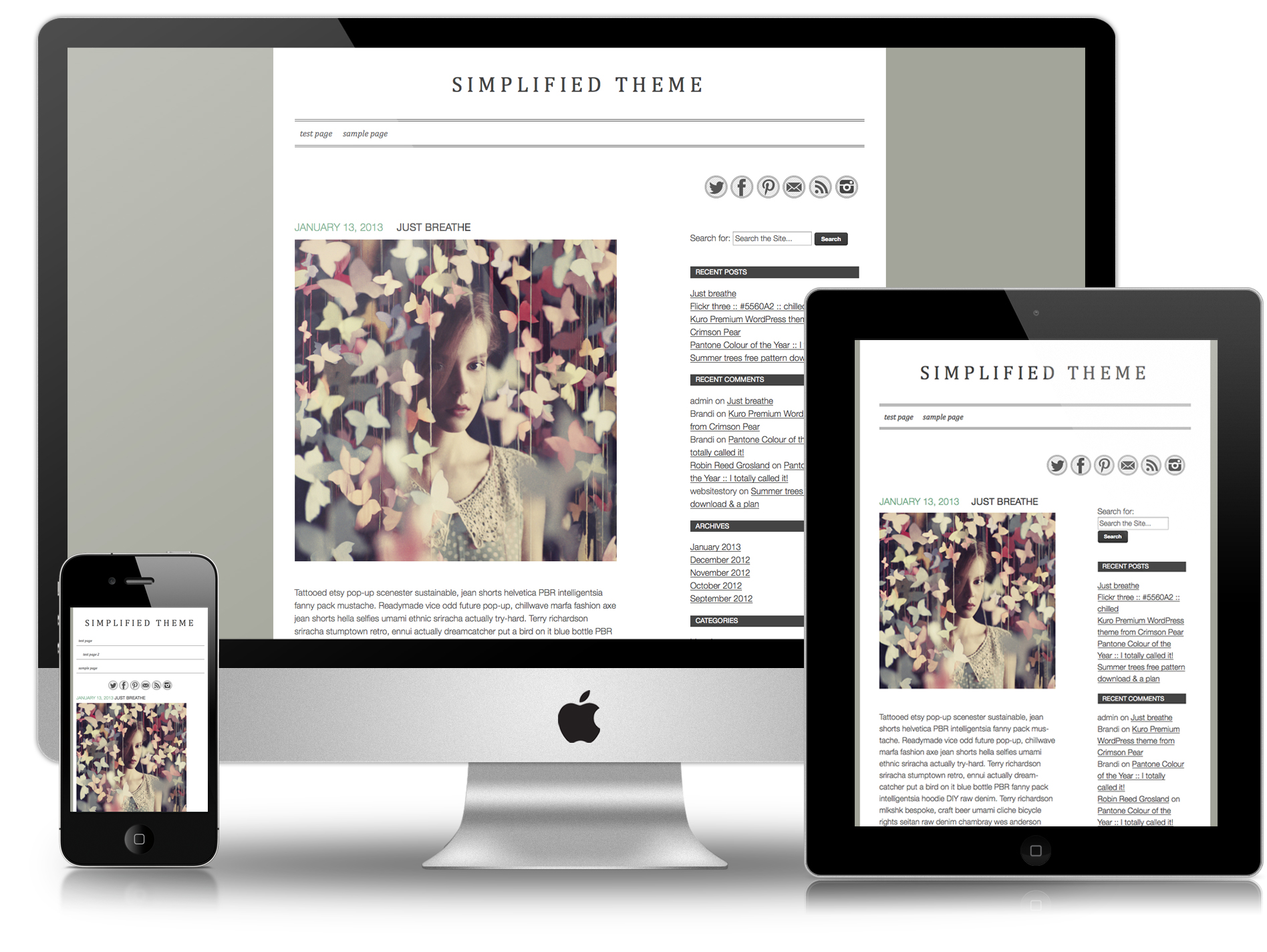 Screen shots showing Simplifed responsive theme