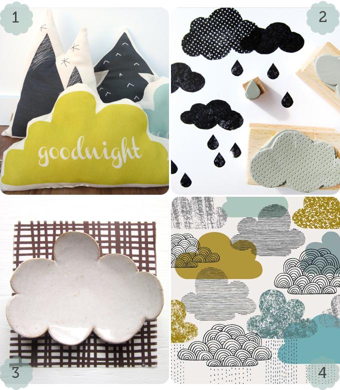 4 images with cloud motifs