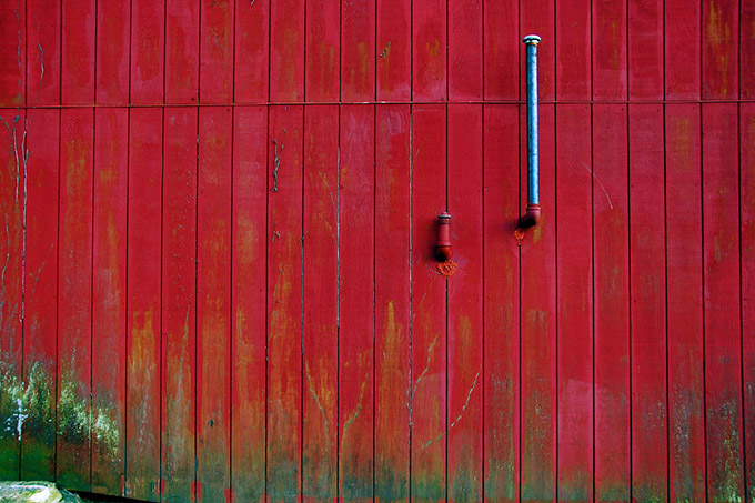 The side of a red barn