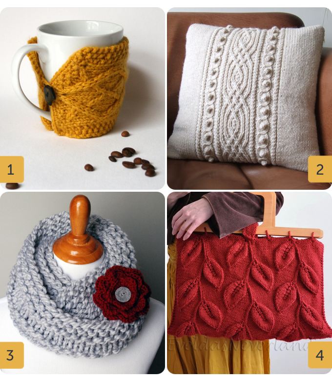 4 images showing knitted products