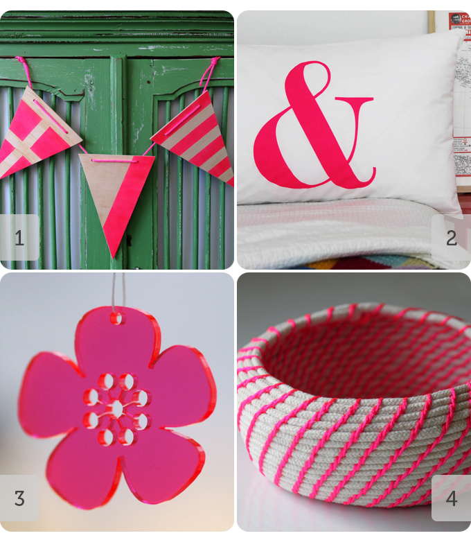 4 products from Etsy featuring neon pink