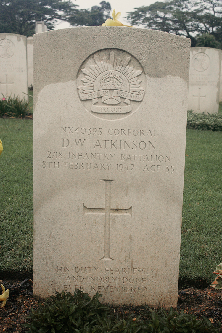 Headstone at Kranji War Cemetary