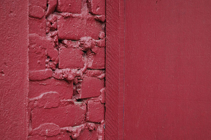 Red wood and brickwork