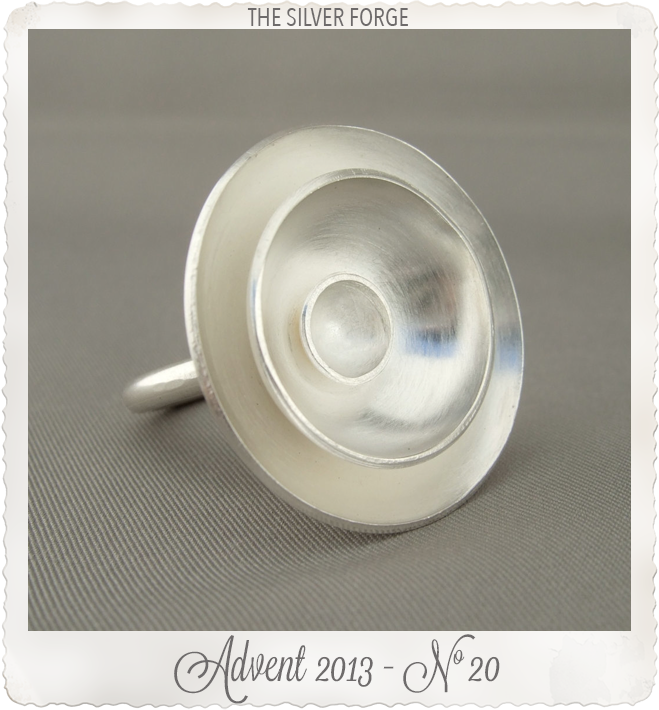 Large Round Poppy Dome Sterling Silver Cocktail Statement Ring by the Silver Forge