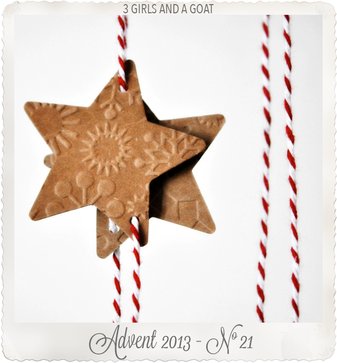 Kraft Brown Enbossed Christmas Star Threaded by 3girlsandagoat