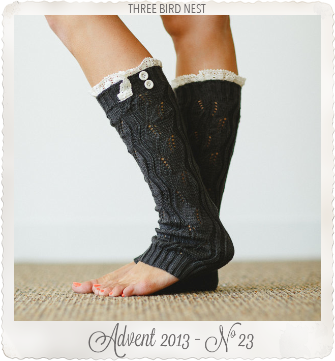 Leg Warmers Lace Trim Shorter Style Stocking by Three Bird Nest