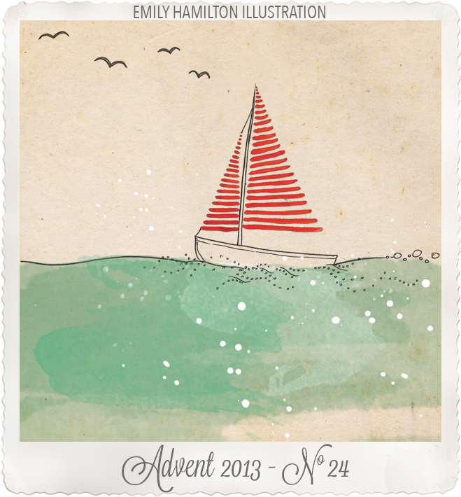 advent-24Sail away ink watercolour & collage by Emily Hamilton Illustrations
