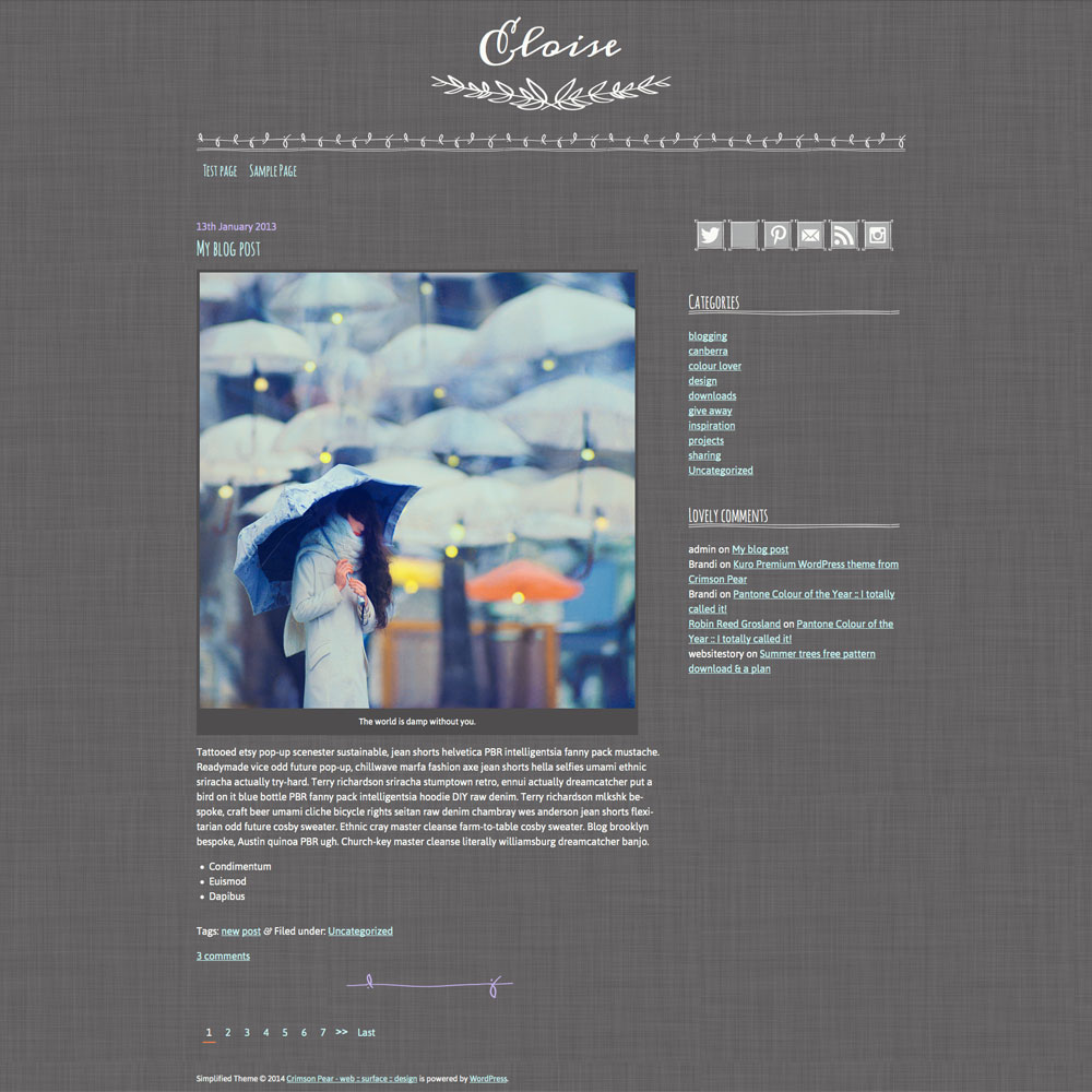 A screen shot of my Eloise WordPress theme