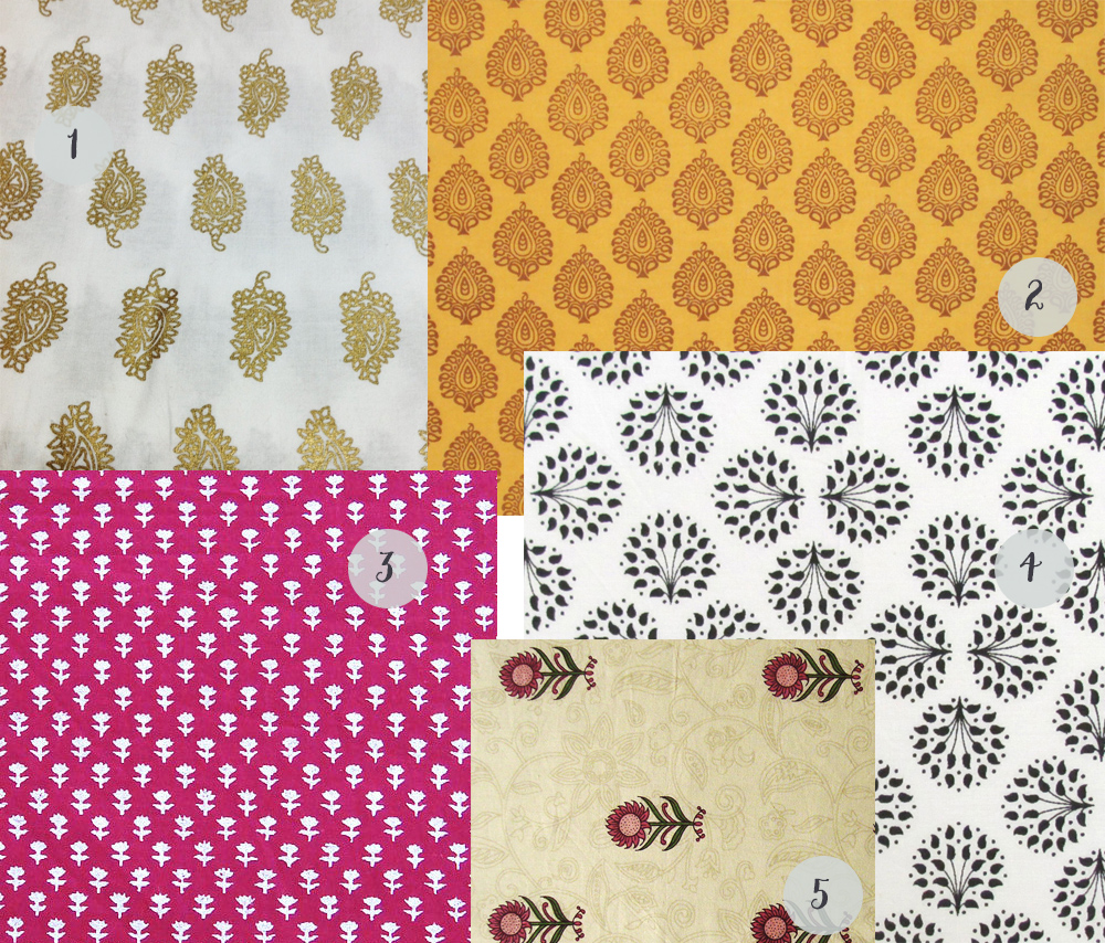 A collection of small print fabrics
