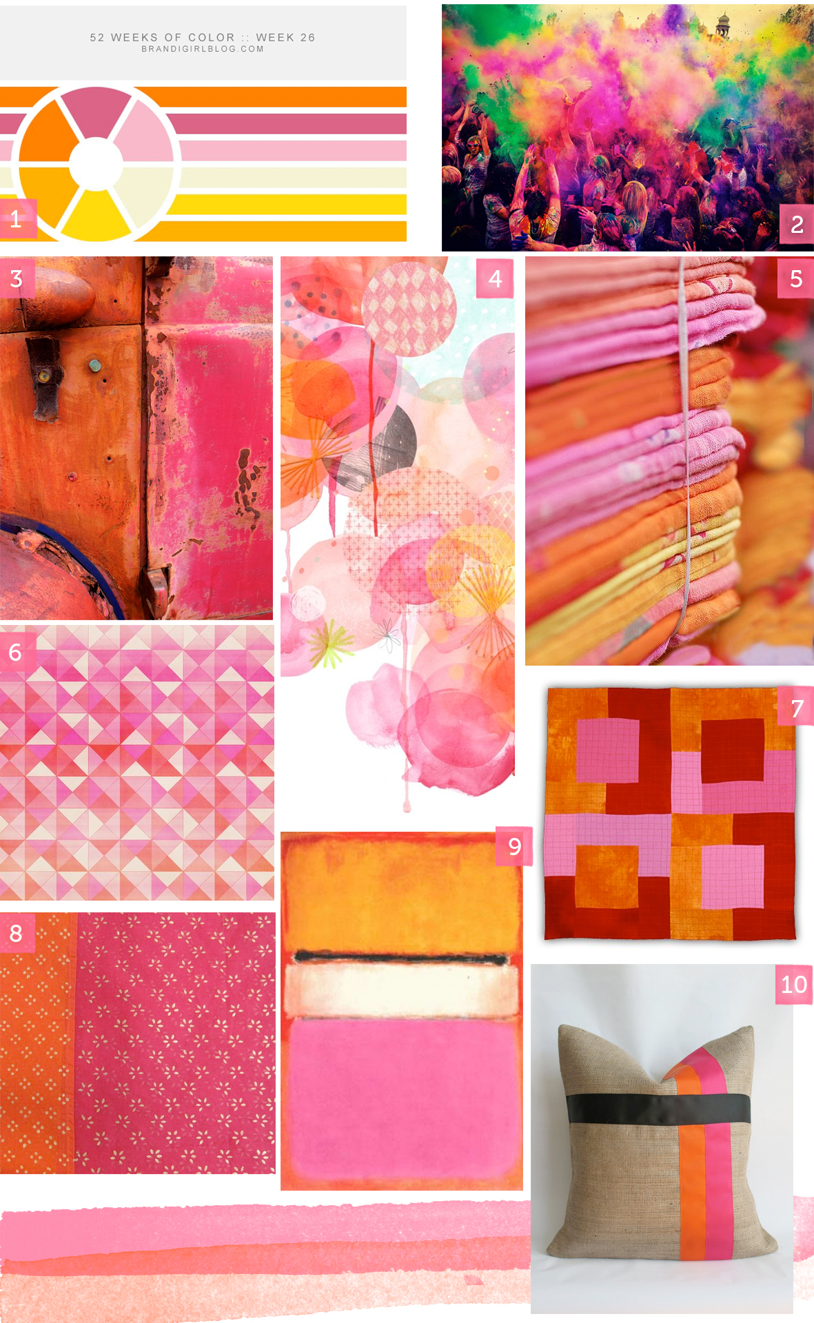 A selection of orange and pink products and images