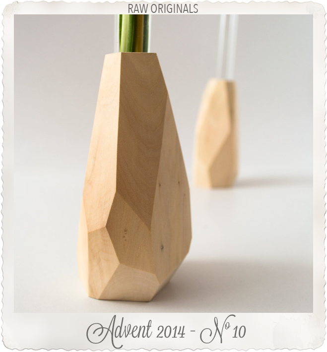 Small faceted wood flower vase by Raw Originals