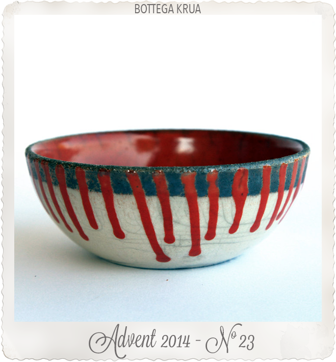 Ceramic fruit bowl raku pottery red white stripes by Bottega Krua